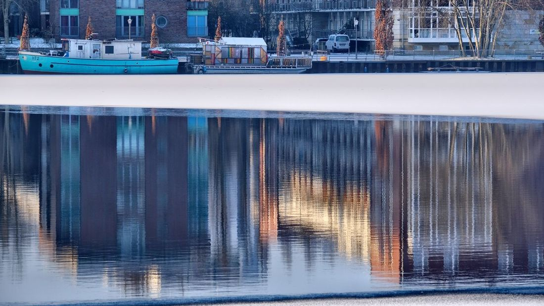 Berlin Photography Cityscape Ice Puddleography Reflection Rummelsburger Bucht Abstract Berliner Ansichten Day In Ice No People Outdoors Water Waves Colour Your Horizn