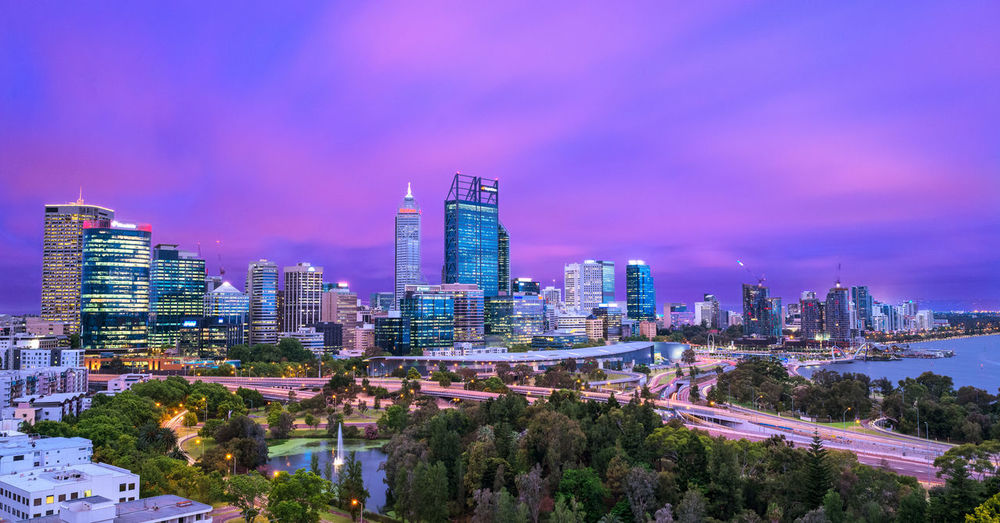 Perth's skyline at sunset City Architecture Built Structure Building Cityscape Sky Skyscraper Modern Transportation Urban Skyline Cloud - Sky Illuminated Road No People Outdoors Financial District  Perth Australia Travel Sunset Evening Colorful Long Exposure