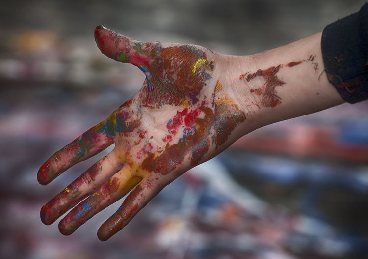 Cropped image of painted hand
