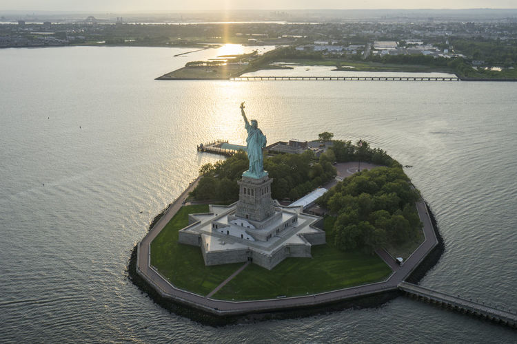 Aerial View Of Liberty Island During Sunset