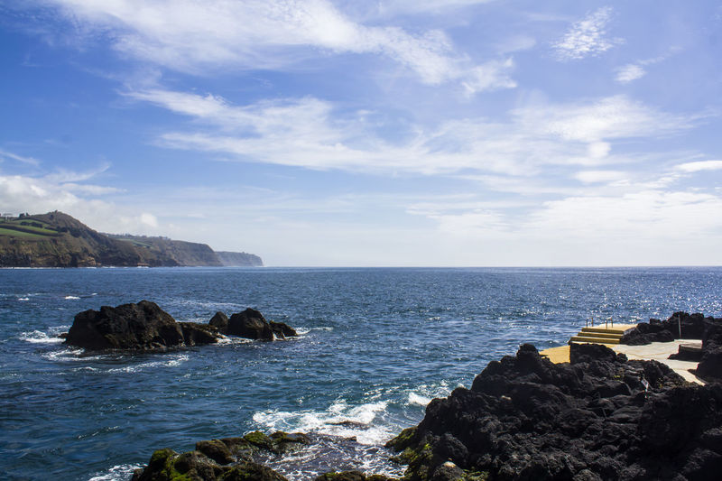 Coastline landscape in Azores Atlantic Ocean Azores Blue Color Coastline Scenic Beauty In Nature Horizon Over Water Island Landscape Natural Pool Nature No People Ocean Outdoors Rock Rock Formation Rocky Coastline Scenics - Nature Sea Sea And Sky Seascape Shore Vibrant Water