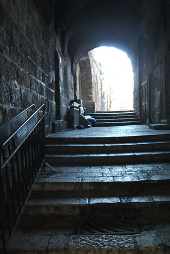 Series of the Christian Quarter. One of the four quarters of the walled Old City of Jerusalem, Arch Architectural Column Architecture Building Built Structure Christian Quarter Day Full Length Historic Jerusalem Leisure Activity Lifestyles Old City Staircase Stairs Steps The Way Forward