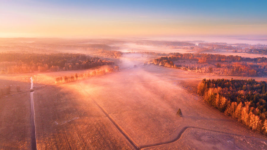 Aerial Shot Belarus Misty Sunny WoodLand Beauty In Nature Cloud - Sky Day Fields Fog Foggy Morning Forest Landscape Landscapes Meadow Nature No People Outdoors Road Rural Scene Scenics Sky Sunset Tree