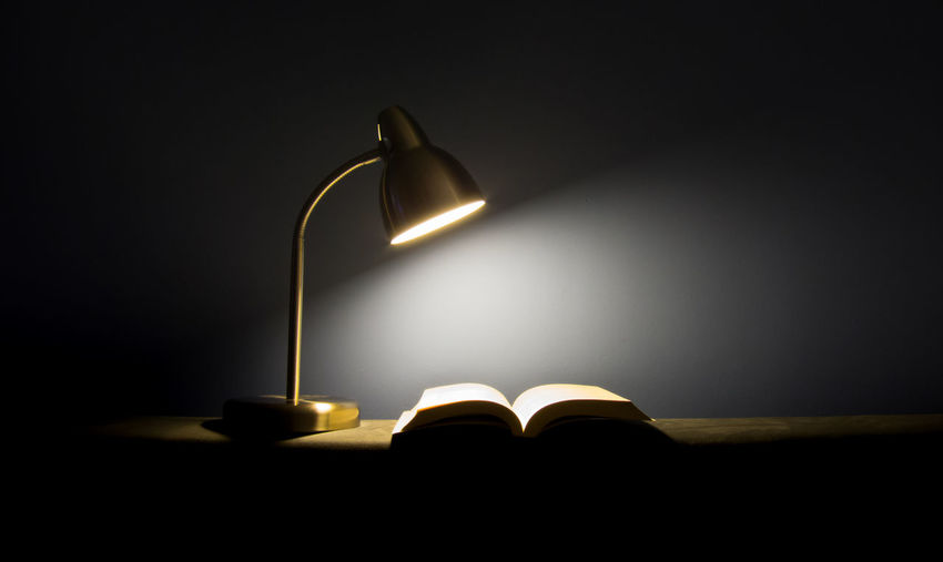 Open Book On Illuminated Lamp