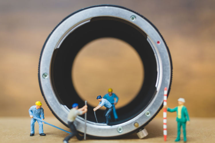 Miniature people : Worker team checking The pipe , Plumbing repair service concept Construction Duct Figure Gutter Heavy Industry M Man Background Casing Concept Digger Equipment Hole Industrail Macro Maintenance Miniature Miniature People Model People Pipe Plumber Plumbing Repair