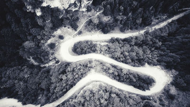 Aerial View Aerial Shot Road From Above Black And White Backgrounds Sand High Angle View Road Close-up