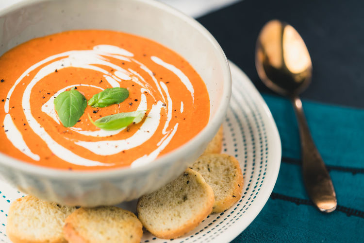 Tomato Soup Basil Cold Weather Comfort Food Soup Lover Soup Of The Day Tomato Soup Bowl Close-up Croutons Eating Utensil Food Food And Drink Healthy Eating Herb Homemade Soup Ready-to-eat Red Chowder Soup Soup Bowl Soup Time  Spoon Tomato Tomato Bisque Tomato Soup And Grilled Cheese Tomatoes🍅🍅