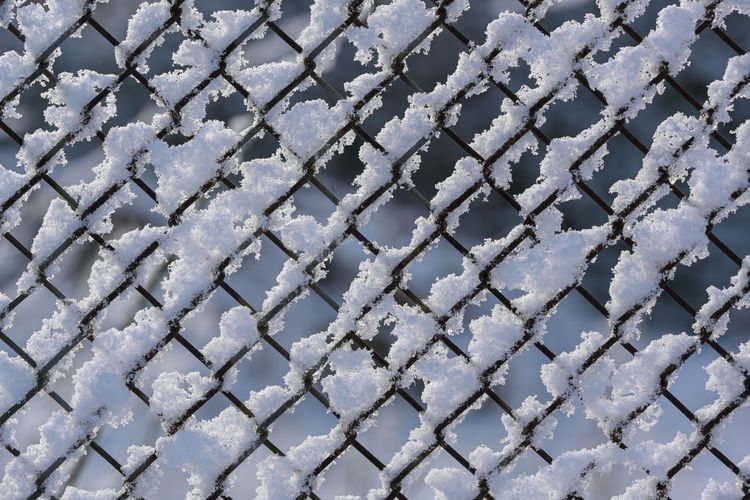 Full frame shot of snow covered metal during winter