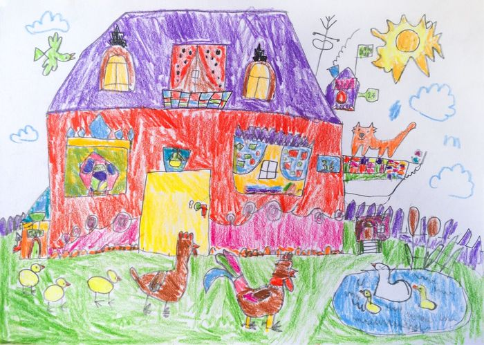 House Pencil Drawing Back Yard Child Drawing Pencil Drawing Picture Poultry Cat Алекс рисует Rooster Hen Chicken - Bird Goose Grass Yard Outdoors Sun Abstract Painting Colorful Hand Drawing Imagination Paper Alex Drawing 7 years old 5 lesson
