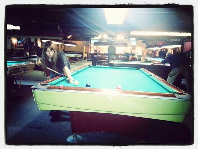 Hanging out with friends Playing Pool Cut Throat Getting Competitive Good Times