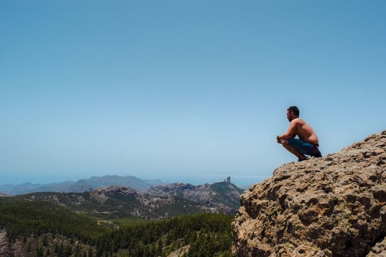 Soledad. Gran Canary Island Man Alone Nature Mountain View Trip Landscape SPAIN Lost In The Landscape