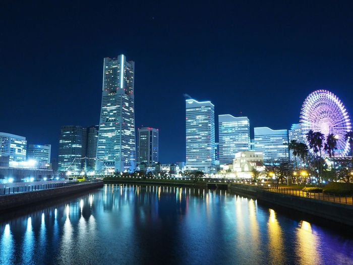 Night downtown Yokohama Japan Architecture Built Structure Building Exterior Building City Sky Water Illuminated Night Waterfront Modern No People Tall - High Cityscape Urban Skyline Office