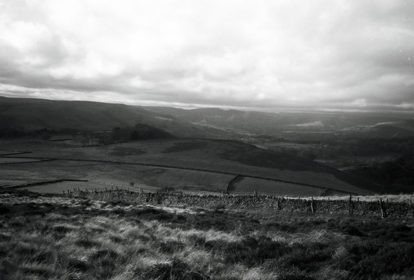 Derbyshire Landscape Mountain Nature Cloud - Sky Outdoors No People Scenics Beauty In Nature Agriculture Rural Scene Day Sky Blackandwhite Ilford Film Peaceful Peace And Quiet Olympus Trip 35