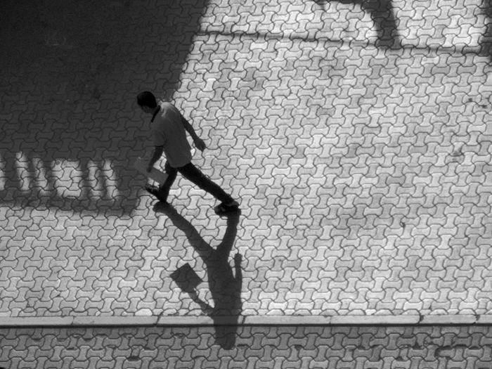 Shadow Men City Sunlight High Angle View Stone Tile Pavement Manhole  Sewage Sewer Footwear Paving Stone