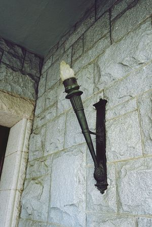 Concrete Stone Low Angle View Electric Light No People Wall - Building Feature Torchlight Antique Lamp