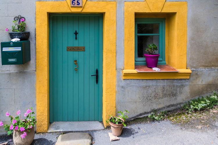 Closed door of window of house