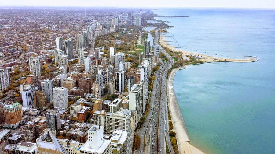 Chicago Illinois, Lake shore drive City Cityscape Water Sea Beach Aerial View Sky Architecture Horizon Over Water Built Structure Bay Of Water Coastline Shore Sandy Beach Wave Coastal Feature Horizon Wide Shot Foreground Island EyeEmNewHere