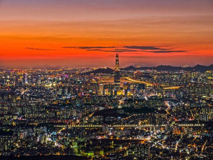 남한산성 Namhansanseong Architecture Building Exterior City Built Structure Cityscape Sky Illuminated Sunset Crowd Building Night Crowded Residential District Nature High Angle View Cloud - Sky Orange Color Travel Destinations Office Building Exterior Modern