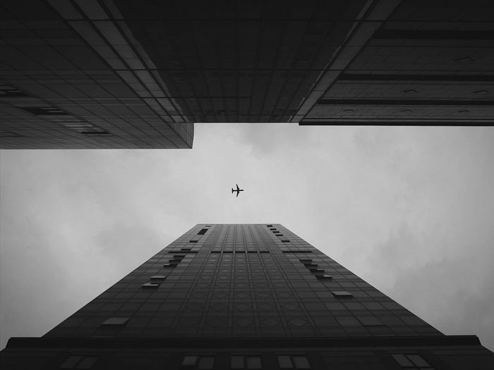 Low angle view of airplane and tall buildings