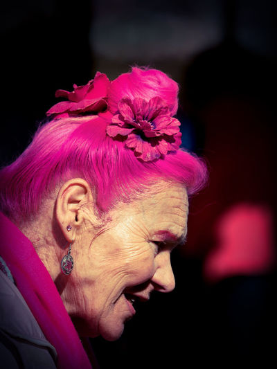 Pink Lady HEAD Ladies Of Fashion Pink Portrait Of A Woman Street Portrait Headshot Older Woman Pink Color Pink Hair Streetphotography Style Style And Fashion This Is Aging The Portraitist - 2018 EyeEm Awards