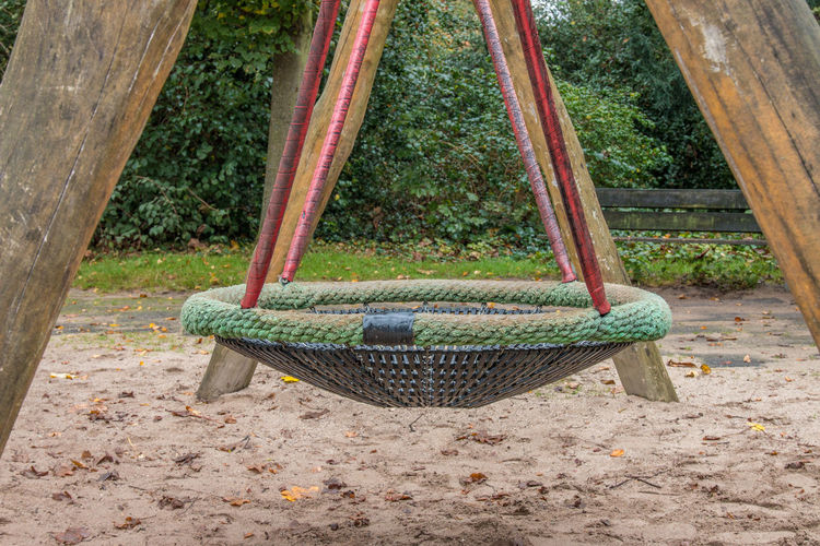 Day Plant Container No People Nature Basket Land Tree Outdoors Park Playground Wood - Material Hanging Growth Park - Man Made Space Field Wicker Swing Seat Hammock Well