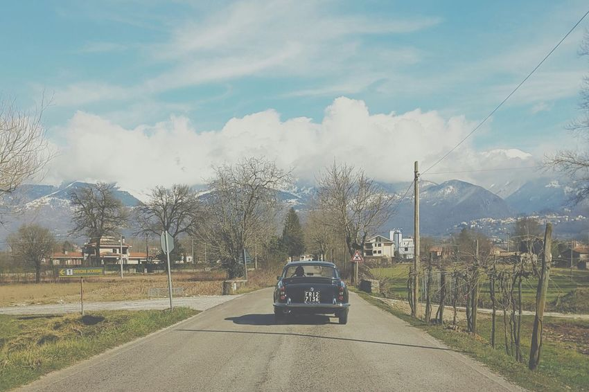 On the road Italy Driving Holydays Open Space Clouds Road Traveling Travel Travelling