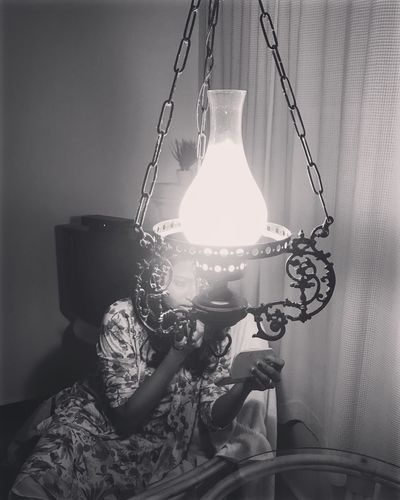 Lighting Equipment Hanging Electric Lamp Illuminated Indoors  Lamp Shade  Chain Electricity  Night Love Without Boundaries EyeEmNewHere Indoors  Old-fashioned Her Beautiful Woman Absence Togetherness Diva Makeup Make Magic Happen EyeEm Best Shots Eyeemphoto Close-up