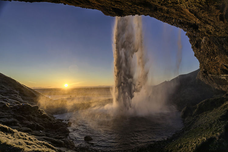 Sunset at Seljalandfoss, Iceland Beauty In Nature Day Foss Grass Iceland Waterfall Icelnad Island Landscape Motion Nature Outdoors Physical Geography Power In Nature Rock Formation Seljalandfoss Sky South Coast Sunlight Sunset Tranquil Scene Tranquility Water Waterfall Waterfalls