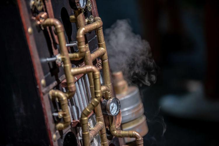 Metallic pipes outdoors