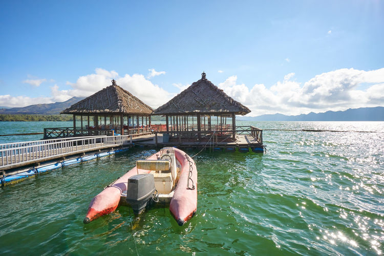 Sunny day over Floating Restaurant at Lake Batur Kintamani, Bali, Indonesia ASIA Floating Restaurant INDONESIA Kintamani - Bali Lake Batur Nature Travel Wonderful Indonesia