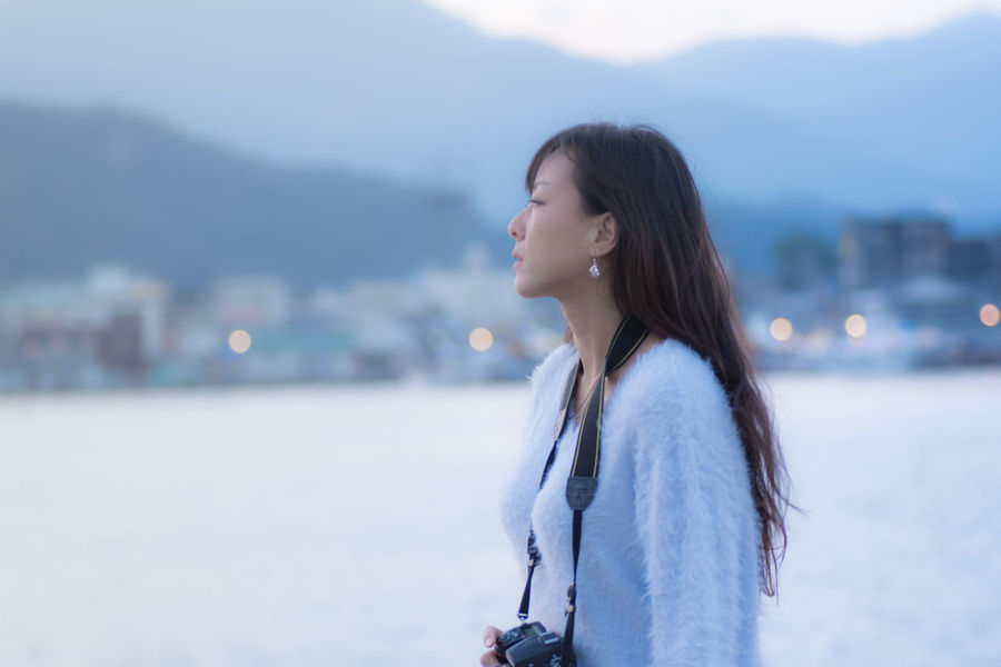 Face in profile At the port of dusk. Dusk Sky Beautiful Woman Face In Profile Long Hair Nature One Person Outdoors People Port Profile Shot Profile View Real People Sea Side View Sky Woman Portrait Young Adult
