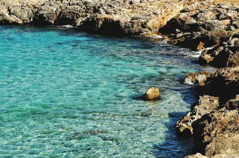 EyeEm Selects cala varques on mallorca island in spain Nature Beach Day Outdoors Water High Angle View Beauty In Nature Sunlight Rock - Object Sea Mallorca Majorca Mediterranean  Seaside Travel Travel Destinations Cala Varques