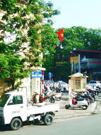 Beautiful Hanoi Hanoi Vietnam  Hanoi Vietnamese Flag Street Photography Motorcycles Traffic
