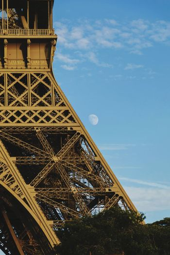 EyeEm Selects Travel Destinations Tourism Architecture History Travel Built Structure Tower Vacations Monument City Sky Arts Culture And Entertainment Outdoors Tree Steel No People Day Eiffel Tower Moon Afternoon Paris Paris, France  France
