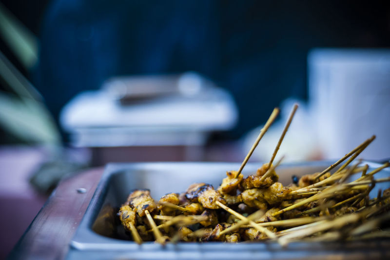 Close-up of skewered chicken