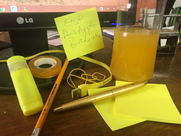 Paint The Town Yellow Colors Office Desk Sticky Notes Pencil Pen At Work Rubberband Orange Juice  Computer Working Yellow