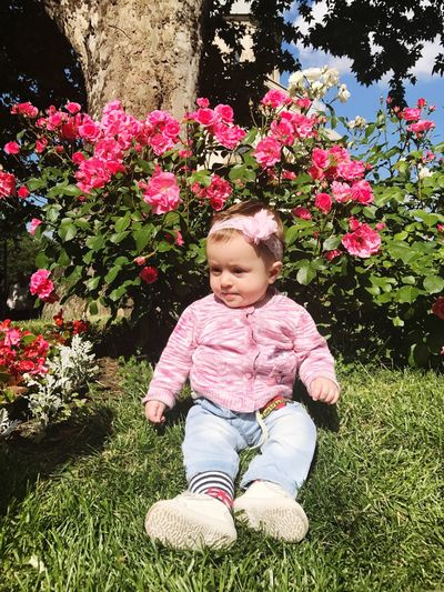 Flower Baby One Person Full Length Smiling Cute Cheerful Sitting Happiness Babies Only Growth Day Outdoors Nature Childhood Fragility Grass Tree People