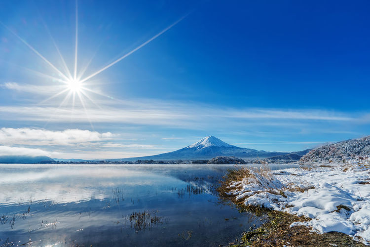 Scenic View Of Snowcapped Mount Fuji