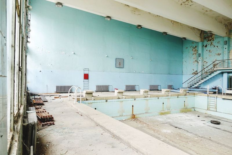 Abandoned olympic indoor swimming pool Water Bulgarian Indoor Swimming Pool Architecture Built Structure Indoors  Day Incidental People Wall - Building Feature Building Water Abandoned Industry