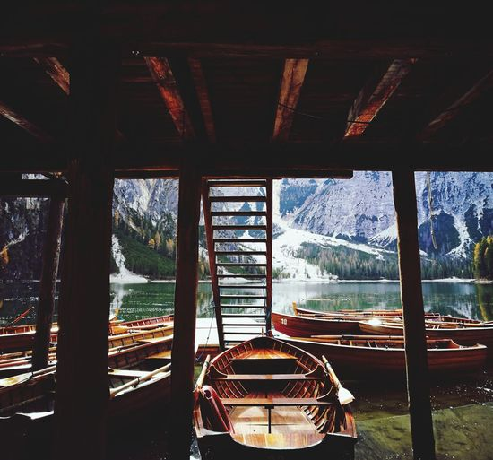 Window Water No People Day Winter Snow Built Structure Architecture Sky Boat Braies Braieslake Wood WoodLand Trip Landscape_photography Landscape_Collection Personal Perspective Trees Lost In The Landscape Colorful Outdoors Landscape Mountain Peak Reflection