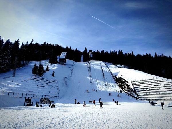 Snow slide and ski ramp on the mountain. Sunny Blue Sky Sunny Day Beautiful Clear Ski Igman Sarajevo Winter Sport Snow Vacations Large Group Of People Winter Outdoors Cold Temperature Day Sky People Nature Mountain Landscape Scenics Beauty In Nature Sport Tree Ski Holiday