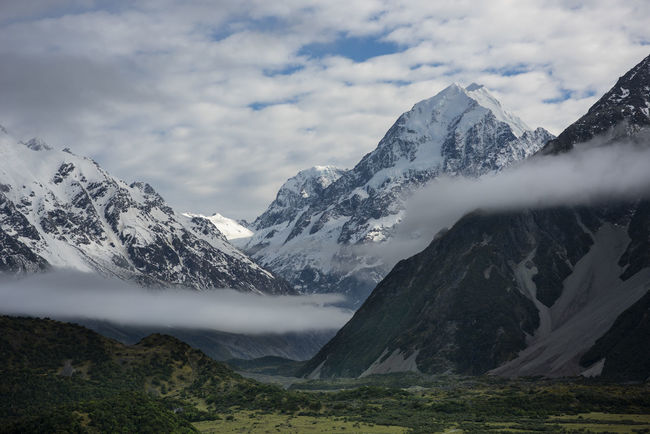 Mount Cook emerging out of inversion clouds in the morning. Mountain Beauty In Nature Snow Sky Scenics - Nature Tranquility Day Mountain Peak Nature Tranquil Scene Cloud - Sky Mountain Range New Zealand Mount Cook Peak New Zealand Scenery Landscape No People Idyllic Snowcapped Mountain Climbing Mist Fog Clouds Valley