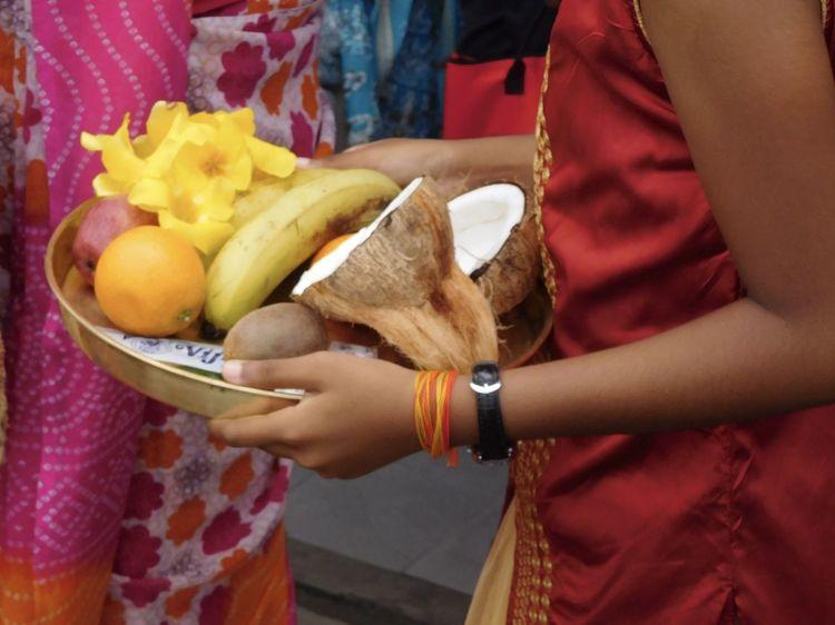 Banana Cavadee Orange Tradition Bowl Ceremony Flowers Offering Procession