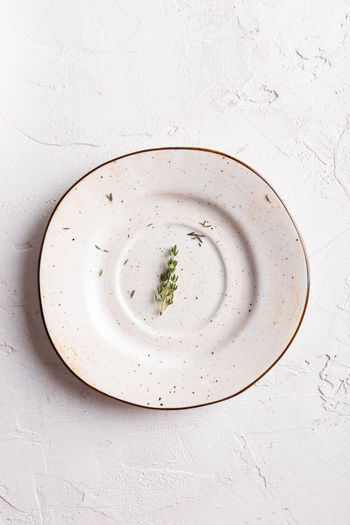 Directly above shot of soup in bowl on table