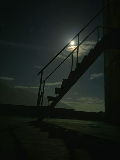 Stair in the night / escalier dans la nuit Night Staircase Silhouette Built Structure Architecture No People Illuminated Sky Outdoors Escalier Moonlight Lune HUAWEI Photo Award: After Dark