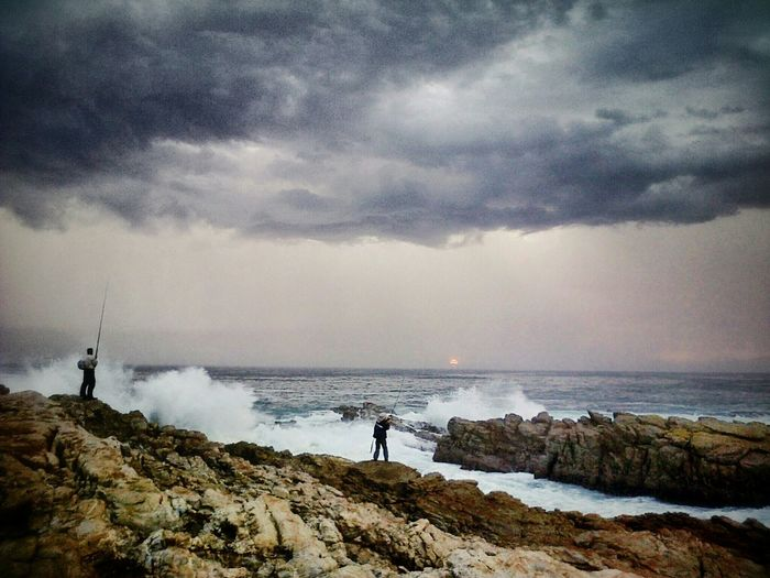 Moody and grey, stormy and wet- but there's still fish to catch. Stormy afternoon in Cape St Francis, South Africa. Sea View Ocean Stormy Weather Clouds Fishing Sea Capturing Movement Thunderstorm Landscape First Eyeem Photo