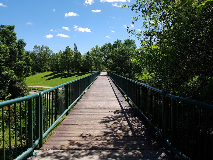 Diminishing perspective of footbridge amidst trees against sky in park during sunny day
