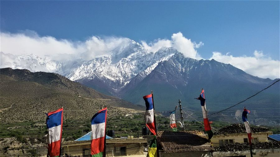 Annapurna range and mount nilgiri are visible from jomsom, nepal.