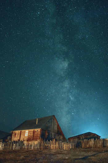 House against sky at night