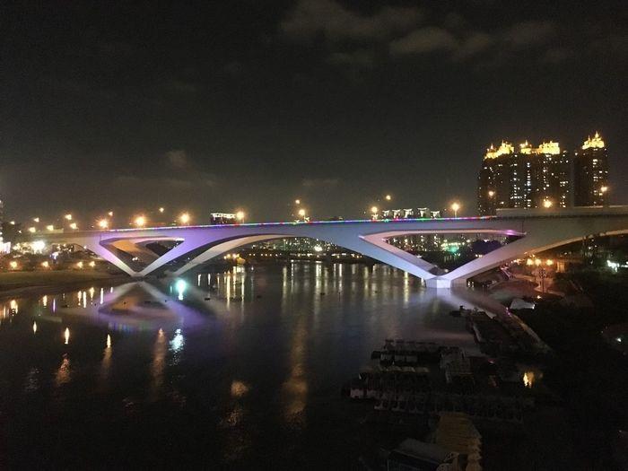 Bridge Taipei,Taiwan Riverside Tripmation Night Lights